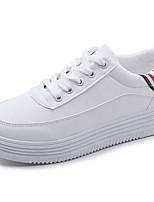 Da donna Scarpe PU (Poliuretano) Autunno Inverno Comoda Sneakers Piatto Punta tonda Lacci Per Casual Bianco Verde Marrone chiaro