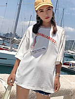 Women's Going out Casual T-shirt,Letter Round Neck Short Sleeves Cotton
