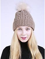 Для женщин Шапки Широкополая шляпа,Осень Зима Искусственный мех Акрил Однотонный Чистый цвет