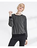 Women's Daily Going out Street chic T-shirt,Solid Round Neck Long Sleeves Nylon