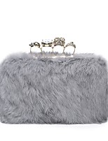 Women Bags All Seasons PU Evening Bag Crystal Detailing Feathers / Fur for Wedding Event/Party Brown Gray Blushing Pink Black