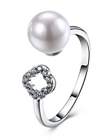 Men's Band Rings Cubic Zirconia Imitation Pearl Cute Style Open Zircon Silver Plated Circle Flower Jewelry For Party Engagement Daily