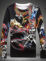 Men's Going out Casual/Daily Short Pullover,Print Round Neck Long Sleeves Wool Others Spring Fall Medium Micro-elastic