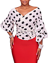 Women's Going out Club Vintage Sexy Street chic Spring Fall T-shirt,Polka Dot V Neck Long Sleeves Polyester Medium