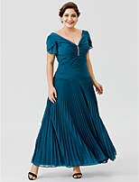 A-Line V-neck Ankle-length Chiffon Mother of the Bride Dress with Beading Pleats by LAN TING BRIDE®