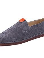 Hombre Zapatos PU Primavera Otoño Confort Zapatos de taco bajo y Slip-On Para Casual Negro Gris Caqui