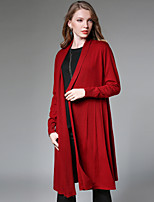 Women's Casual/Daily Simple Spring Fall Trench Coat,Solid Stand Long Sleeve Long Polyester