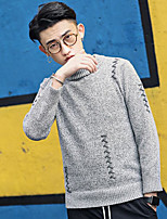 Men's Casual/Daily Simple Regular Pullover,Solid Round Neck Long Sleeves Cotton Fall Medium Micro-elastic