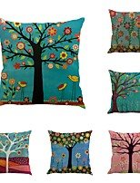 Set Of 6 Oil Paintings Plant Trees Pillow Cover Vintage Square Cushion Cover