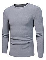 Standard Pullover Da uomo-Casual Taglie forti Semplice Tinta unita Rotonda Manica lunga Poliestere Elastene Altro Autunno Inverno Medio