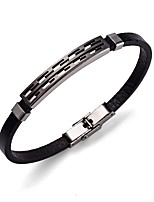 Men's Bracelet Leather Bracelet Simple Rock Stainless Steel Leather Round Jewelry For Going out Street