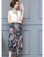 Women's Going out Casual/Daily Street chic Summer Blouse Pant Suits,Print V Neck Sleeveless