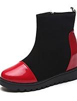Feminino Sapatos Couro Ecológico Outono Botas da Moda Botas Rasteiro Ponta Redonda Ziper Para Casual Branco Vermelho