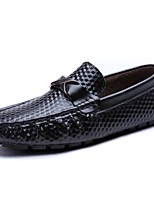 Men's Shoes PU Spring Fall Comfort Loafers & Slip-Ons Ruched For Casual White Black Blue