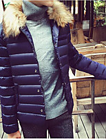 Men's Down Coat,Simple Casual/Daily Solid-Others White Duck Down Long Sleeves