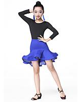 devons-nous danses latines tenues enfants performance fibre de lait plissée manches longues jupes hautes justaucorps
