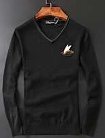 Men's Casual/Daily Simple Regular Pullover,Solid V Neck Long Sleeves Wool Fall Medium Micro-elastic