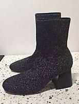 Damen Schuhe Gestrickt Herbst Winter Modische Stiefel Springerstiefel Slouch Stiefel Stiefel Blockabsatz Runde Zehe Booties / Stiefeletten