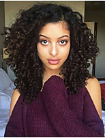 Women Human Hair Lace Wig Brazilian Human Hair Lace Front 130% Density Layered Haircut With Baby Hair Kinky Curly Wig Black Medium Brown