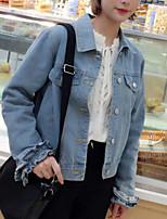 Women's Daily Simple Casual Fall Denim Jacket,Print Shirt Collar Long Sleeve Regular Polyester