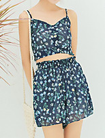 Women's Casual/Daily Simple Sexy Summer Blouse Pant Suits,Floral V Neck Sleeveless Chiffon Micro-elastic