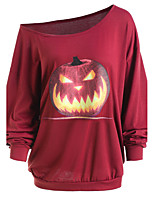 Women's Daily Going out Casual Street chic All Seasons T-shirt,Print Off Shoulder Long Sleeves Cotton Acrylic Medium