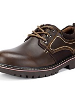 Men's Shoes Nappa Leather Spring Fall Comfort Oxfords Lace-up For Outdoor Brown Black
