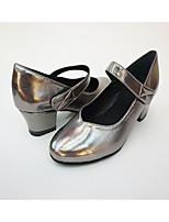 Women's Salsa Leatherette Full Sole Practice Buckle Block Heel Gray Silver Gray 1