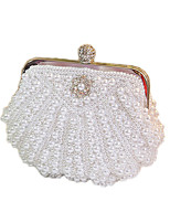 Women Bags All Seasons Satin Evening Bag Beading Crystal Detailing Pearl Detailing for Wedding Event/Party White Beige