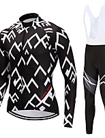 FUALRNY® Cycling Jersey with Bib Tights Men's Long Sleeves Bike Clothing Suits High Elasticity Fleece Winter Cycling/Bike White