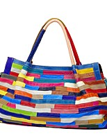 Women Bags Spring Summer Cowhide Shoulder Bag Tiered for Shopping Casual Rainbow