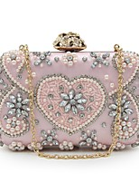 Women Bags All Seasons Polyester Evening Bag Beading Embroidery Pearl Detailing for Event/Party Blushing Pink Gold