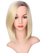 Women Synthetic Wig Capless Short Black/Strawberry Blonde Ombre Hair Natural Wigs Costume Wig