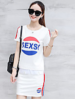 Women's Casual/Daily Simple Summer Blouse Pant Suits,Pattern Round Neck Short Sleeve Micro-elastic