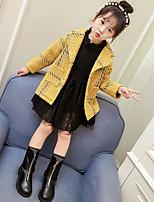 Girls' Plaid Jacket & Coat,PU Cotton Fall Winter Long Sleeve