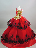Party/Evening Dresses For Barbie Doll Red+Golden Dresses For Girl's Doll Toy