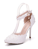 Femme Chaussures Polyuréthane Printemps Automne Confort Nouveauté Chaussures de mariage Bout pointu Applique Perle Boucle Pour Mariage