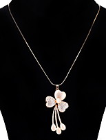 Women's Pendant Necklaces Synthetic Opal Flower Alloy Fashion Elegant Jewelry For Party Daily