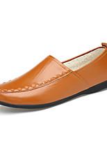 Masculino sapatos Pele Napa Outono Inverno Conforto Forro de fluff Mocassins e Slip-Ons Franzido Para Casual Festas & Noite Branco Preto