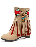 Women's Shoes Leatherette Spring Winter Fashion Boots Boots Wedge Heel Round Toe Booties/Ankle Boots Tassel For Casual Office & Career