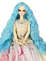 Women Synthetic Wig Capless Long Kinky Curly Sky Blue Doll Wig Costume Wig