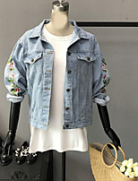 Women's Casual/Daily Simple Fall Denim Jacket,Print Shirt Collar Long Sleeve Regular Polyester