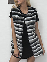Women's Plus Size Casual/Daily Simple Fall Winter Fur Coat,Striped Round Neck Sleeveless Regular Faux Fur