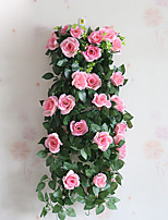 1 Branch Polyester Roses Wall Flower Artificial Flowers