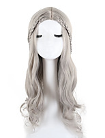 Women Synthetic Wig Capless Long Natural Wave Wavy Grey African American Wig Middle Part Lolita Wig Party Wig Celebrity Wig Halloween Wig