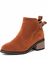 Women's Shoes Leatherette Winter Fashion Boots Bootie Boots Chunky Heel Round Toe Booties/Ankle Boots Zipper For Casual Dress Brown Gray