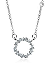 Women's Pendant Necklaces Rhinestone Round Rhinestone Alloy Fashion Elegant Jewelry For Wedding Daily