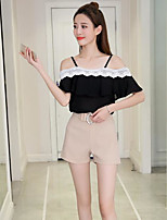 Women's Casual/Daily Simple Summer T-shirt Pant Suits,Solid Strap Short Sleeve Micro-elastic