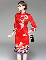 Moulante Robe Femme Décontracté / Quotidien Sortie Chinoiserie,Broderie Mao Midi Manches 3/4 Lin Polyester Automne Hiver Taille Normale