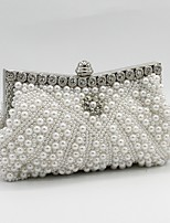 Women Bags All Seasons Satin Evening Bag Beading Crystal Detailing Pearl Detailing for Wedding Event/Party Champagne White Black Beige